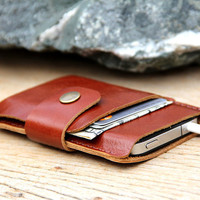 Mini brance brown leather iphone wallet case by SakatanLeather