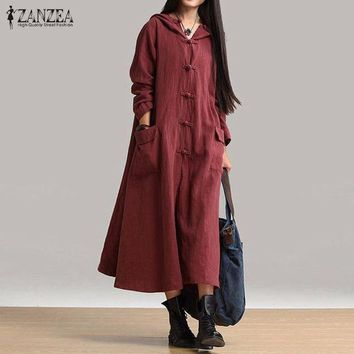 DCCKFS2 ZANZEA Women Cotton Dress 2018 Hot Sale Autumn Vintage Casual Loose Long Dresses Ladies V Neck Long Sleeve Hooded Solid Vestidos