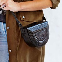 Ecote Tooled Wood Shoulder Bag- Black One