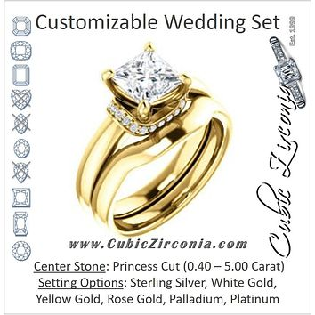 CZ Wedding Set, featuring The Jennifer Elena engagement ring (Customizable Princess Cut featuring Saddle-shaped Under Halo)