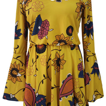 Yellow Printed Bell Long Sleeve Skater Dress