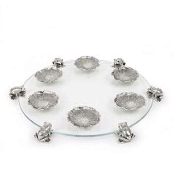 Glass Silver Frog Seder Plate by Quest, Plates & Sets Size: 13 D