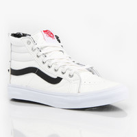 Vans Sk8-Hi Slim Girls Skate Shoes - True White Leather/Snow Leopard