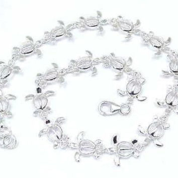 "SILVER 925 HAWAIIAN HONU TURTLE  ANKLET SIZE 9 1/2"" +"