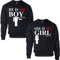HE'S MY BOYFRIEND SHE'S MY GIRLFRIEND COUPLE SWEATSHIRT