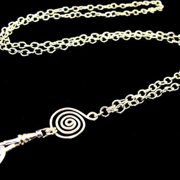 Women's Fashion ID Badge Lanyard with Handcrafted Spiral and Silver Chain (magnetic clasp available)