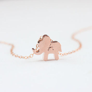 Personalized Necklace. Initial rose gold elephant Necklace .Tiny Lucky Elephant Jewelry. Gift to mom,friends