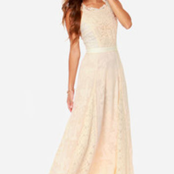 Follow Your Dreams Cream Lace Maxi Dress