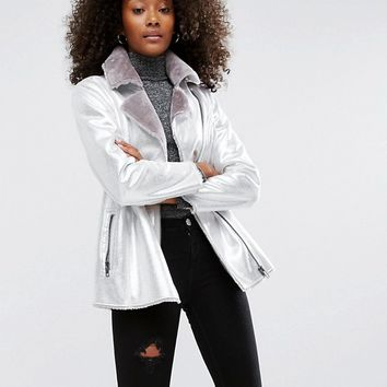 ASOS Longline Metallic Leather Look Biker Jacket with Faux Fur Lining at asos.com
