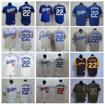 Los Angeles Dodgers Baseball Jerseys 22 Clayton Kershaw Jersey Flexbase Cool Base Grey White Home Away All Stitched Authentic Quality