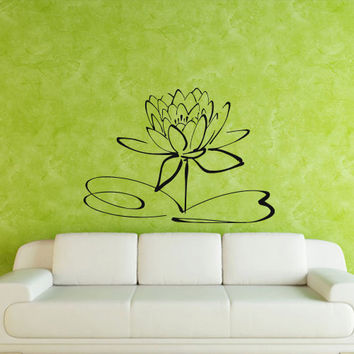 Wall decal art decor decals sticker flower lotus beauty plant longevity luck symbol cleanliness heart mind Tibet India (m119)