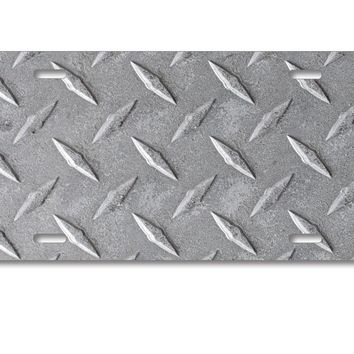 DistinctInk Custom Aluminum Decorative License Plate - Grey Diamond Plate Steel