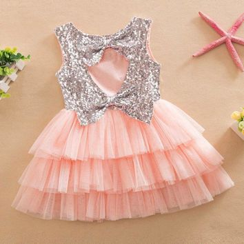 New Baby Girl Summer Layered Tutu Dress Kids Sleeveless Hollow Out Back Bow Sequined Dresses Children Clothing