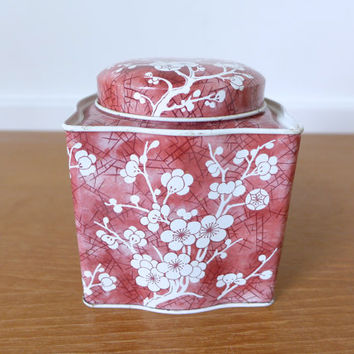 Daher red cherry blossom tin