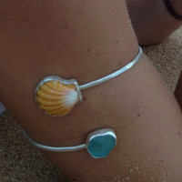 Sterling Silver Kauai Sea Glass and Sunrise Shell Arm Band
