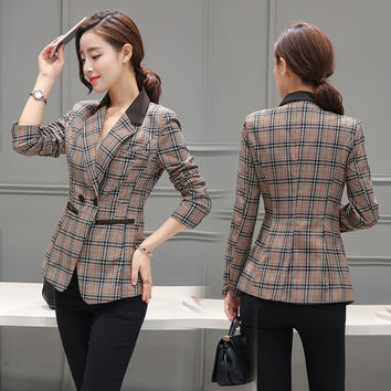 Female blazer 2017 spring and autumn new blazer women jacket slim medium-long plaid long-sleeve casual suit blazer outerwear