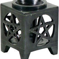 Black Pentacle - Oil Burner - Candle Holder