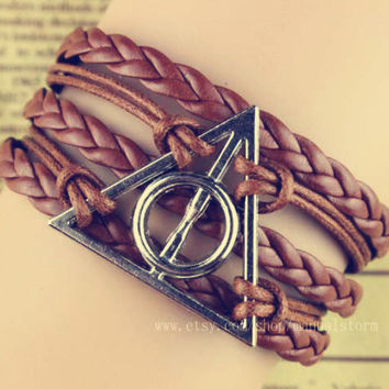 8 color choices Harry potter Bracelet, Deathly Hallows Necklace--Antique silver Necklace, Lord of the Ring