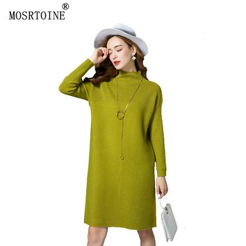 MOSRTOINE Long Sweater Dress Maxi Long Sleeve Women Cashmere Full Winter Sweater Plus Size 3xl Slim Sexy Women Sweaters Pullover