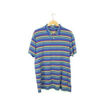 90s RALPH LAUREN rainbow polo shirt - vintage 1990s - thin soft short sleeve tee - bol