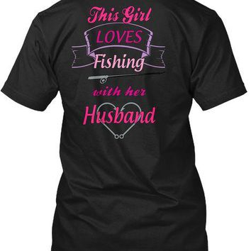 This Girl Loves Fishing With Her Husband T-Shirts - Men's Crew Neck Top Tees