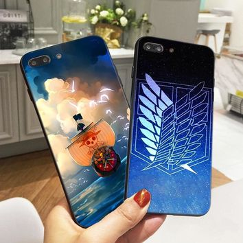 Cool Attack on Titan Anime One Piece Case for iPhone 8  Soft Silicone Phone Cover for iPhone X 6 6S 5 5S SE 7 Plus Fundas de Capinha AT_90_11