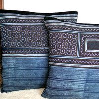 Vintage Hmong Embroidery And Indigo Batik On A 16 Inch Cushion Cover, Boho Pillows, Free Worldwide Shipping