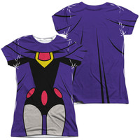 Teen Titans Go Raven Uniform White Womens Poly Capped Sleeve (Front & Back Print)