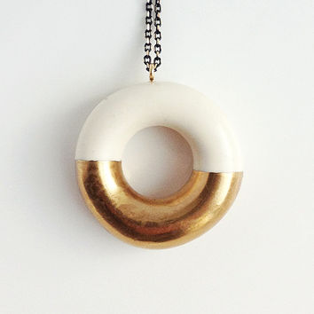 Milky Donut with Gold Glaze - handmade ceramic jewellery dessert