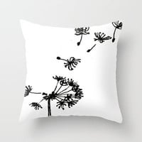 Dandelion Drawing Throw Pillow by Claudia McBain