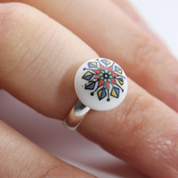 Geometric Midi Ring | Hand Painted Porcelain Button Top Ring | Stackable | Adjustable | RuthiesMagicalCamera