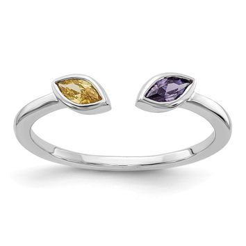 14k White Gold Genuine Marquise Amethyst And Citrine Ring