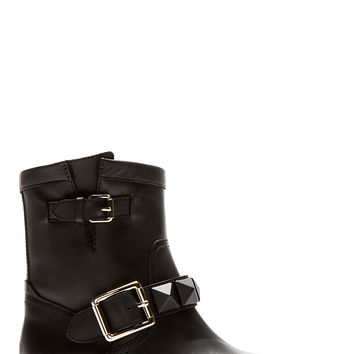 Valentino Black Leather Covered-stud Biker Boots