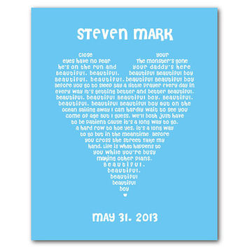 Personalized Beautiful Beautiful Boy - John Lennon - Typgography Print - Heart Shaped Word Art - Boy's Room Nursery Wall Art - Personalize
