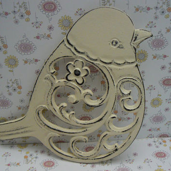 Bird Flower Cast Iron Trivet Hot Plate Off White Cream Distressed Shabby Chic Ornate Swirly Chunky Bird Kitchen Country Chic Decor