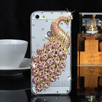 "iPhone 6 Plus Case, MC Fashion Peacock Crystal Rhinestone 3D Diamante Hard Shell Phone Case Compatible for Apple iPhone 6 Plus 5.5"" (2014) ONLY (Pink)"