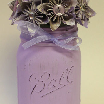 Petunia Purple Jar / Mason Jar Decor / Painted Mason Jar / Flower Mason Jar / Spring Mason Jar / Paper Flowers / Wedding Mason Jar