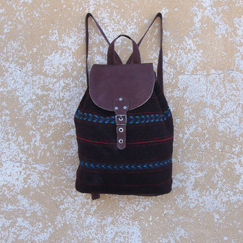 Brown boho backpack, brown wool backpack, leather backpack, school backpack, holiday backpack, college backpack, kilim backpack