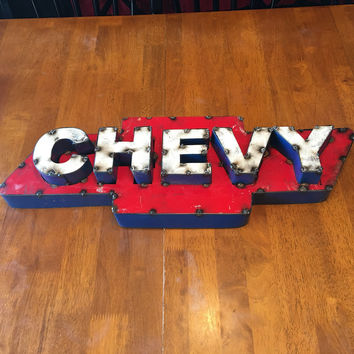 Chevy Recycled Metal 3D Sign 24x8x6