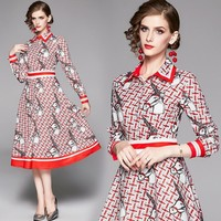 BURBERRY Trending Popular Women Casual Print Long Sleeve Lapel Dress Red
