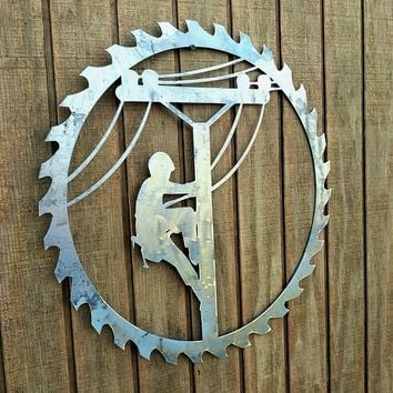 Lineman Decor- Metal Door Hanger- Unfinished Sign- Rustic Sawblade- Metal Decor- Barn Decor- Gift Idea- Lineman Wall Decor- Wall Hangings
