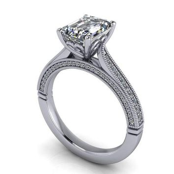 2.00 CTW Emerald Cut Forever One Moissanite Vintage Style Engage.  engagementring 15f9047e23f7