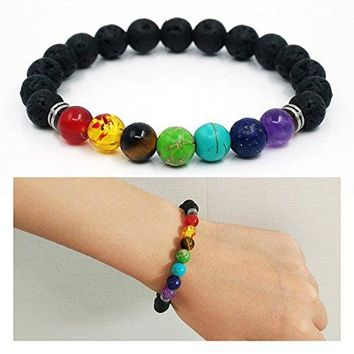 Ci Pure Elastic 8mm Lava Rock Chakra Stone Yoga Beads Healing Bangle Bracelet