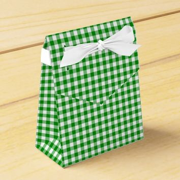 Gingham-Green-Favor Box, Tent Favor Box