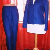 PENDLETON SUIT Jacket With Pants Blue Wool Lined Size 10/6 Mage in El Salvador
