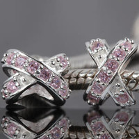 Solid 925 Sterling silver pink CZ zirconia stone X by floridabeads