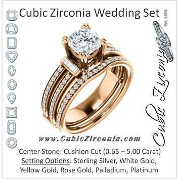 CZ Wedding Set, featuring The Kaitlyn engagement ring (Customizable Cushion Cut with Flanking Baguettes And Round Channel Accents)