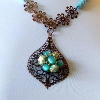 Turning Blue Recycled Reclaimed necklace by spankyluvsvintage2