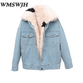 Fashion Denim Fur Jacket Women Coat 2017 New Winter Thick Detachable Cashmere Lining Denim Jacket Overcoat Warm Parkas Mujer A08