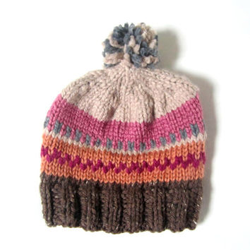 Fair isle chunky pompom hat, hand knitted unisex, READY TO SHIP